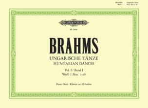 Danses Hongroises Volume 1. 4 Mains BRAHMS Partition laflutedepan