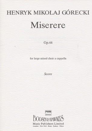 Miserere Opus 44 GORECKI Partition Chœur - laflutedepan