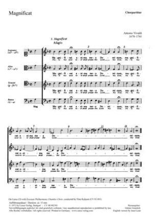 Magnificat RV 610. Choeur VIVALDI Partition Chœur - laflutedepan