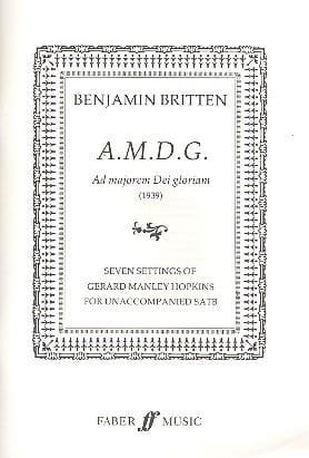 A.M.D.G. - BRITTEN - Partition - Chœur - laflutedepan.com