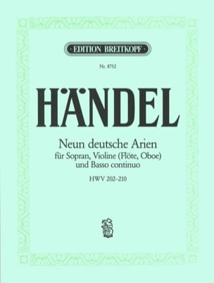 9 Deutsche Arien HWV 202-210 HAENDEL Partition Violon - laflutedepan