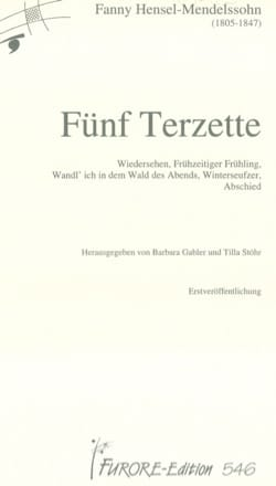 5 Terzette Fanny Hensel-Mendelssohn Partition laflutedepan