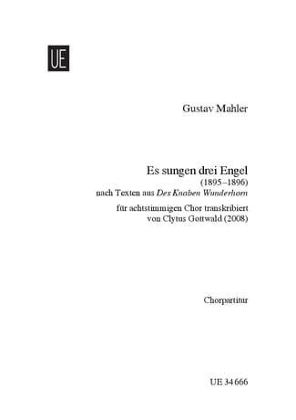 Es Sungen 3 Engel - MAHLER - Partition - Chœur - laflutedepan.com