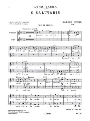 O Salutaris. Opus 9-1 - DUPRÉ - Partition - Chœur - laflutedepan.com