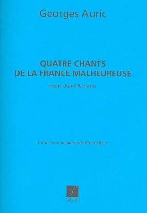 4 Chants de la France Malheureuse Georges Auric Partition laflutedepan