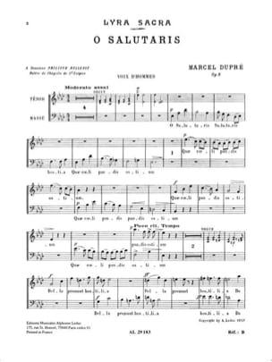 O Salutaris Op. 9-1. Voix Hommes DUPRÉ Partition Chœur - laflutedepan