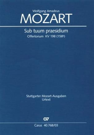 Sub Tuum Praesidium K 198 MOZART Partition Duos - laflutedepan