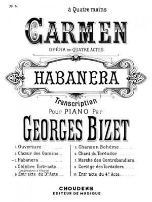 Habanera. 4 Mains BIZET Partition Piano - laflutedepan