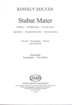 Stabat Mater KODALY Partition Chœur - laflutedepan