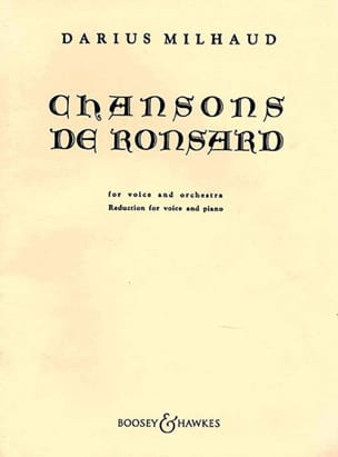 Chansons De Ronsard MILHAUD Partition Mélodies - laflutedepan