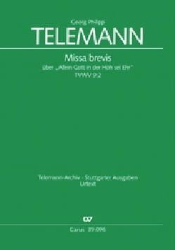 Missa Brevis - TELEMANN - Partition - Chœur - laflutedepan.com