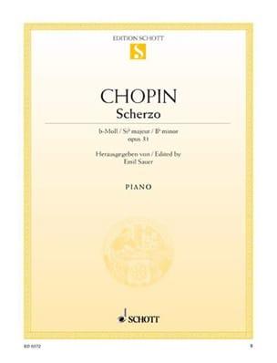 Scherzo Si Bémol Mineur, Opus 31 CHOPIN Partition Piano - laflutedepan