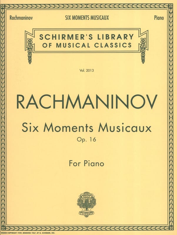 6 Moments Musicaux Opus 16 - RACHMANINOV - laflutedepan.com