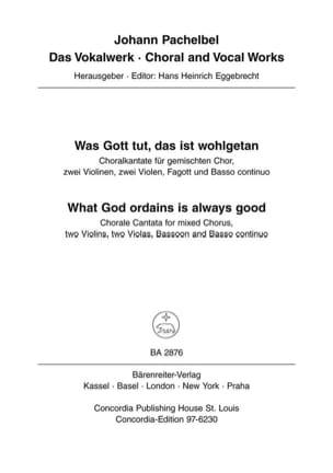 Was Gott tut, das ist wohlgetan - What God ordains is always good. Choralkantate - laflutedepan.com