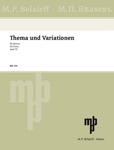 Thème et Variations Op. 72 - GLAZOUNOV - Partition - laflutedepan.com