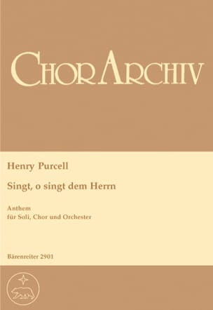 Singt, O Singt Dem Herrn. Choeur - PURCELL - laflutedepan.com