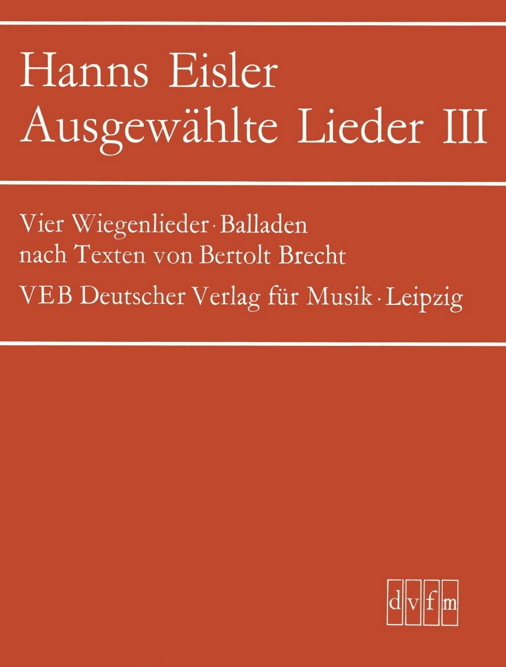 Ausgewählte Lieder 3 - Hanns Eisler - Partition - laflutedepan.com