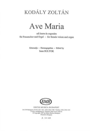 Ave Maria KODALY Partition Chœur - laflutedepan
