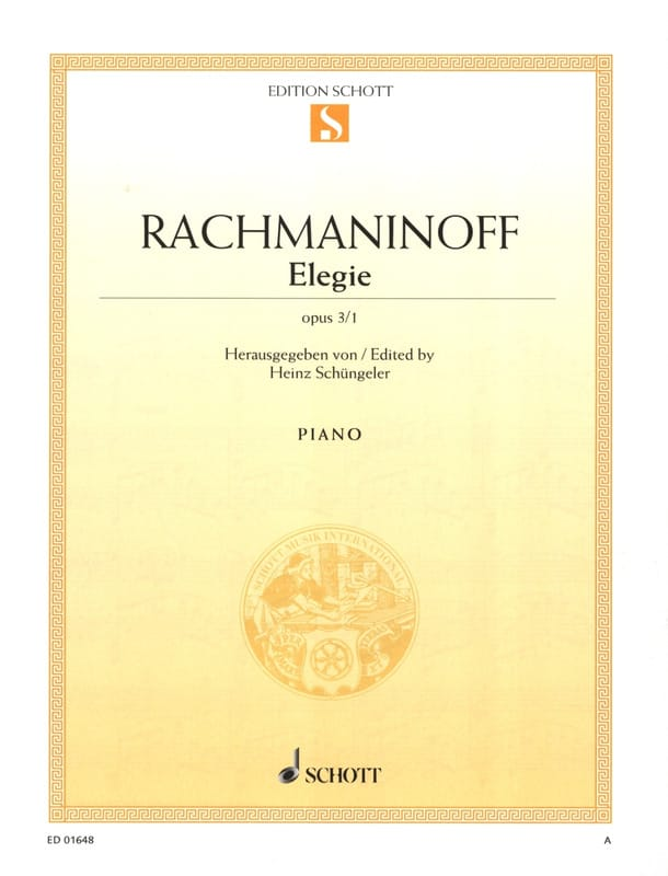 Elégie Opus 3-1 - RACHMANINOV - Partition - Piano - laflutedepan.com