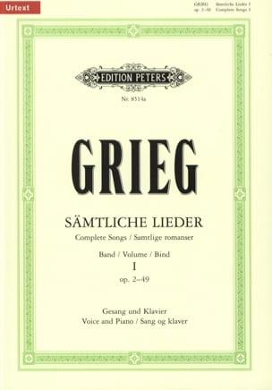Samtliche Lieder Volume 1 GRIEG Partition Mélodies - laflutedepan