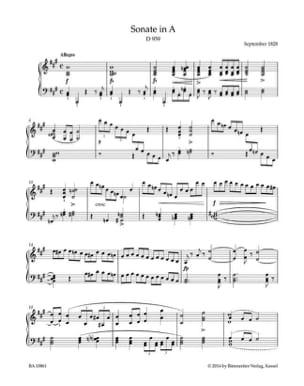 Sonate en La majeur D 959 SCHUBERT Partition Piano - laflutedepan