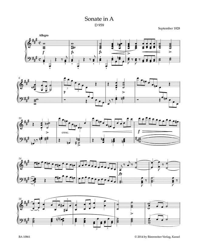 Sonate en La majeur D 959 - SCHUBERT - Partition - laflutedepan.com