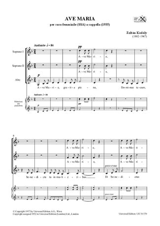 Ave Maria - KODALY - Partition - Chœur - laflutedepan.com