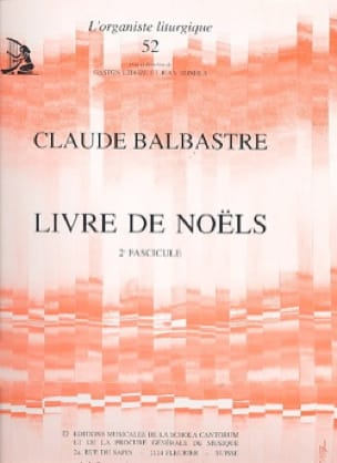 Livre de Noëls Volume 2 - Claude-Bénigne Balbastre - laflutedepan.com