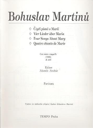Vier Lieder über Maria - MARTINU - Partition - laflutedepan.com