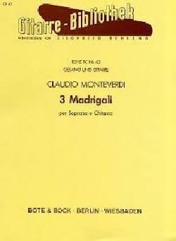 3 Madrigali Per Soprano et Chitarra MONTEVERDI Partition laflutedepan