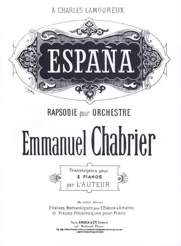 España. 2 Pianos - CHABRIER - Partition - Piano - laflutedepan.com