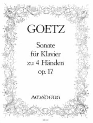 Sonate Op. 17. 4 Mains - Hermann Goetz - Partition - laflutedepan.com