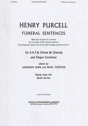 Funeral Sentences PURCELL Partition Chœur - laflutedepan