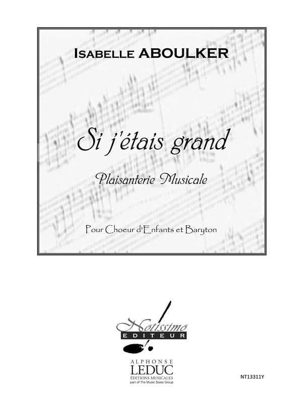 Si J'étais Grand - Isabelle Aboulker - Partition - laflutedepan.com
