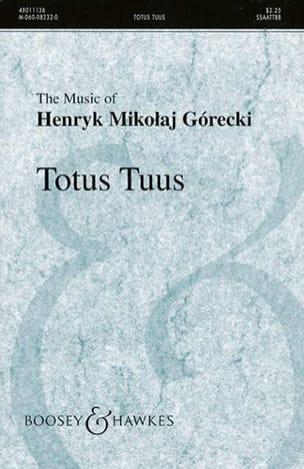 Totus Tuus Opus 60 GORECKI Partition Chœur - laflutedepan