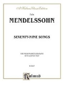 79 Songs Voix Moyenne MENDELSSOHN Partition Mélodies - laflutedepan