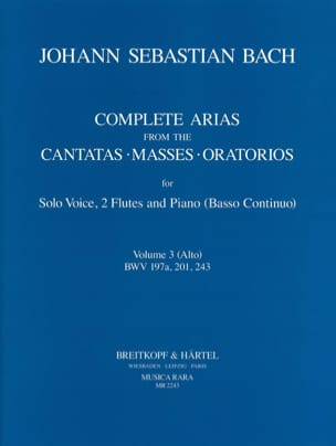 Arias For Alto, 2 Flutes And Continuo BACH Partition laflutedepan
