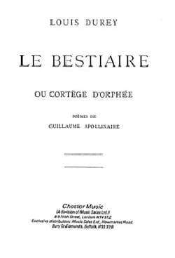 Le Bestiaire. Louis Durey Partition Mélodies - laflutedepan