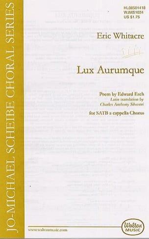 Lux Aurumque Eric Whitacre Partition Chœur - laflutedepan
