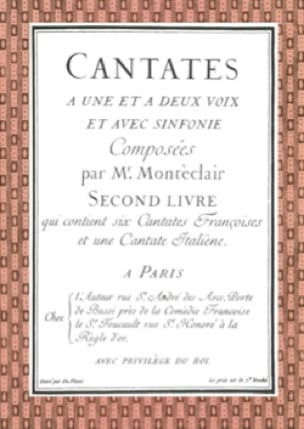 Cantates Livre 2 - Michel Pignolet de Montéclair - laflutedepan.com