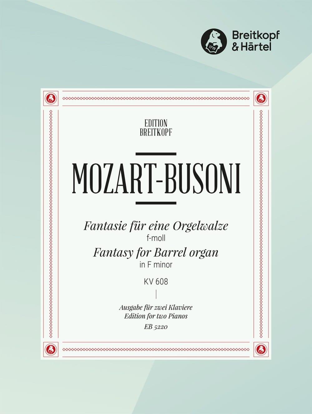 Fantasie En Fa Mineur K 608. 2 Pianos - MOZART - laflutedepan.com