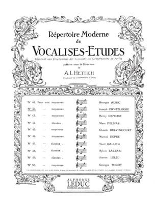 Vocalise Etude CANTELOUBE Partition Pédagogie - laflutedepan