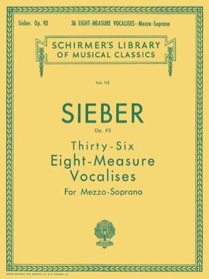 36 Vocalises de 8 Mesures Opus 93. Mezzo Ferdinand Sieber laflutedepan